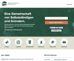 Die neue VGSD-Website: Sceenshot der Homepage