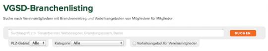 VGSD-Brancheeintrag Suche/Filter