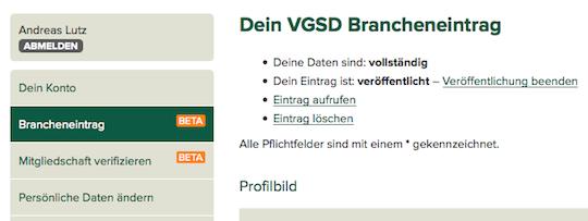 VGSD Brancheneintrag bearbeiten