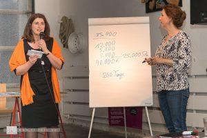 Claudia Schlebach (IHK) rechnet vor, wie viel Gewinn man erzielen sollte (mit Kathrin Schirmer) - Foto: Thomas Dreier, t3-foto.de