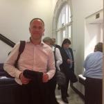Andreas Lutz bei der Ankunft im Ministerium, Foto: Rolf Höfert