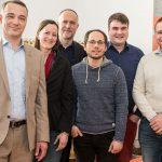 Das komplette neue Führungsteam: Frank Weigelt, Sylvie Denarié, Andreas Lutz, Tim Wessels, Micha Lauterjung und Max Hilgarth