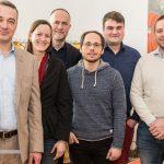 Nach der Wahl: Frank Weigelt, Sylvie Denarié, Andreas Lutz, Tim Wessels, Micha Lauterjung und Max Hilgarth