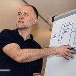 Andreas Lutz erklärt wie Website, Backend und weitere Systeme zusammenhängen