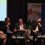 Im Gespräch: Prof. Susanne Peter-Lange (FSVW), Eva Welskop-Deffaa (ehem. ver.di), Dr. Andreas Lutz (VGSD), Prof. Gregor Thüsing (GVG, Moderator), Dr. Ulrich Walwei (IAB) und David Beitz (Gesamtmetall)