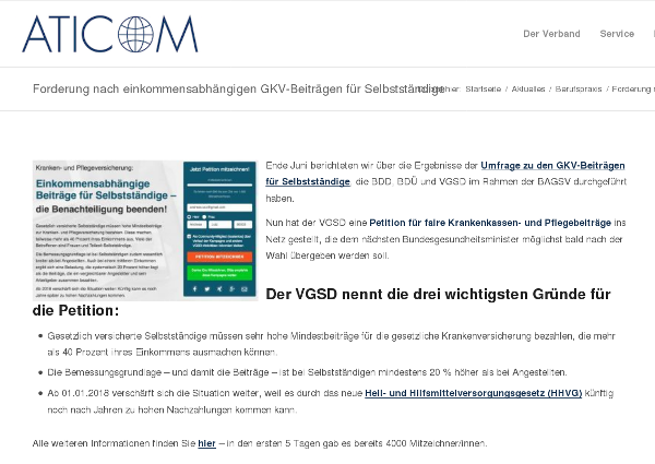 Der Übersetzer- und Dolmetscherverband ATIKOM wirbt auf seiner Website für die Petition.