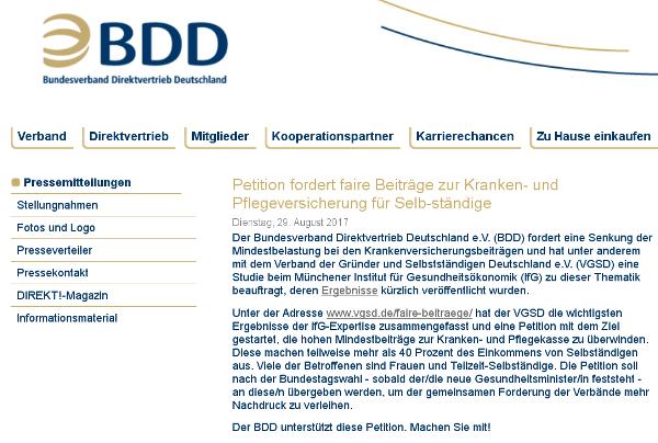 Der BDD unterstützt die Petition.