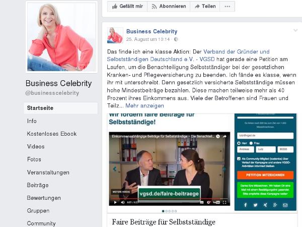 """""""Business Celebrity"""" Sonja Kreye wirbt auf ihrer Facebook-Seite für die Petition."""
