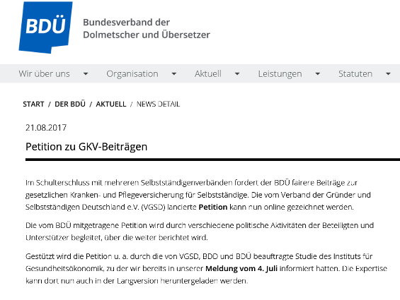 Der BDÜ ruft auf seiner Website dazu auf, die Petition mitzuzeichnen.