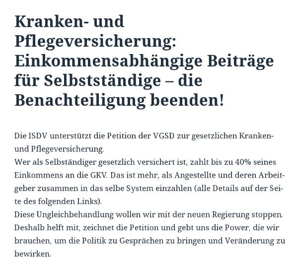 Die ISDV ruft auf ihrer Website zum Mitzeichnen der Petition auf.