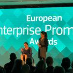 """Juliane Kummer, deutsche (Mit-)Organisatorin der """"European Enterprise Promotion Awards"""". Sie organisierte nicht nur, sondern konnte auch für ein deutsches Projekt eine der Auszeichnungen mit nach Hause nehmen. Foto: Reinhard Mohr"""
