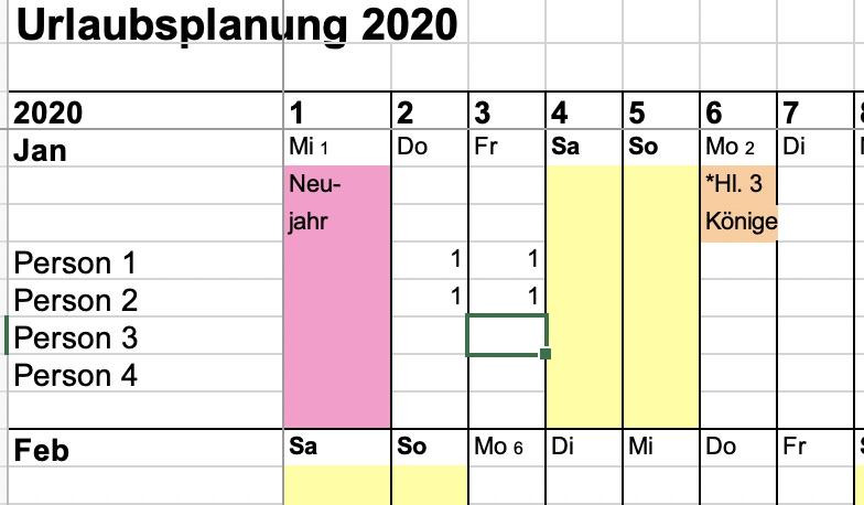 Urlaubsplaner 2021 Kostenlose Excelvorlage