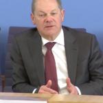 Bundesfinanzminister Scholz bei einer Pressekonferenz, Screenshot