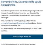 Der Antrag auf Neustarthilfe beginnt ebenso wie der Direktantrag auf November- und Dezemberhilfe mit dem Elster-Login.