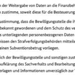 Es folgen weitere Einverständniserklärungen, z.B. über die Meldung der Neustarthilfe an das Finanzamt, auf die du zuvor schon hingewiesen wurdest.